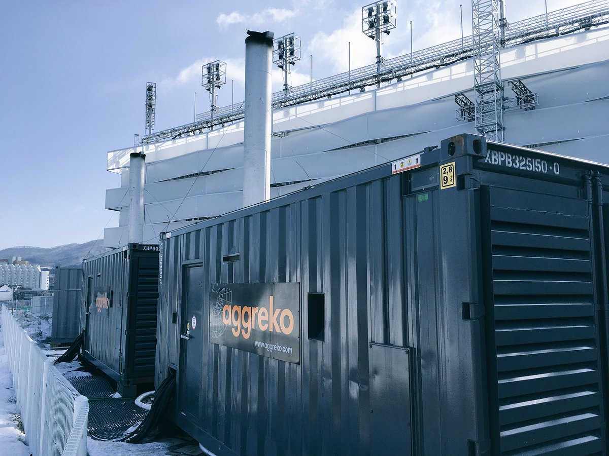 Aggreko Generator at Winter Olympics with Powersafe single Pole connector on