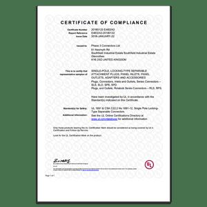 UL - Certificate of Compliance